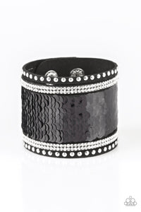 "Paparazzi ""MERMAIDS Have More Fun"" Black 186XX Silver Sequin Black Suede Wrap Bracelet Paparazzi Jewelry"