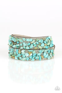 "Paparazzi ""CRUSH To Conclusions"" Blue Turquoise Rock and White Rhinestone Suede Double Wrap Bracelet Paparazzi Jewelry"