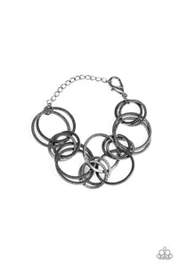 "Paparazzi ""Give Me A Ring"" Black Gunmetal Linked Hoop Bracelet Paparazzi Jewelry"