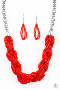 "Paparazzi ""Savannah Surfin"" Red Braided Seed Bead with Large Silver Bead Accent Necklace & Earring Set Paparazzi Jewelry"