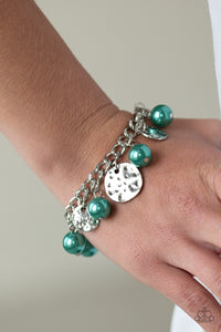 "Paparazzi ""SEA In A New Light"" Green Pearl Silver Disc Bracelet Paparazzi Jewelry"