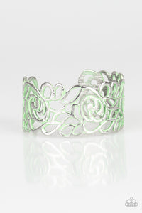 "Paparazzi ""Victorian Gardens"" Green Distressed Floral Filigree Cuff Bracelet Paparazzi Jewelry"