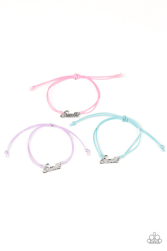 Girls Multi Color & Silver SMILE Charm Pull Cord Starlet Shimmer Bracelets Set of 5 Paparazzi Jewelry