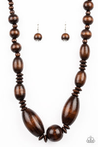 "Paparazzi ""Summer Breezin"" Brown Wooden Bead Necklace & Earring Set Paparazzi Jewelry"