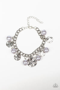 "Paparazzi ""SEA In A New Light"" Silver Pearl Silver Disc Bracelet Paparazzi Jewelry"