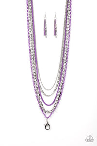 "Paparazzi ""Industrial Vibrance"" Purple and Silver Long Layered Chain Lanyard Necklace & Earring Set Paparazzi Jewelry"