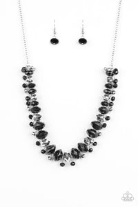 "Paparazzi ""BRAGs To Riches"" Black and Silver Faceted Bead Necklace & Earring Set Paparazzi Jewelry"