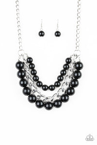 "Paparazzi ""Empire State Empress"" Black Bead Oversized Chain Silver Necklace &  Earring Set Paparazzi Jewelry"