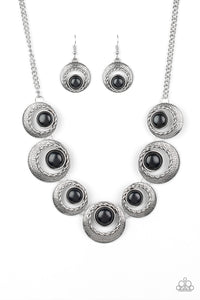 "Paparazzi ""Lions, Tigers, and Bears"" Black Stone Silver Frame Necklace & Earring Set Paparazzi Jewelry"