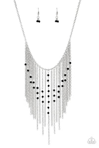 "Paparazzi ""First Class Fringe"" Black Crystal Like Bead Silver Fringe Necklace & Earring Set Paparazzi Jewelry"