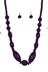 "Paparazzi ""Summer Breezin"" Purple Wooden Bead Necklace & Earring Set Paparazzi Jewelry"