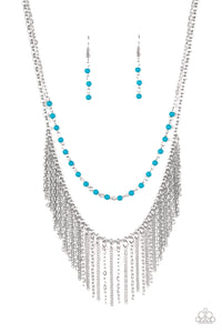 "Paparazzi ""Fierce In Fringe"" Blue Bead Silver Chain Fringe Necklace & Earring Set Paparazzi Jewelry"