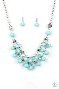 "Paparazzi ""Seaside Soiree"" Blue Bead Silver Necklace & Earring Set Paparazzi Jewelry"