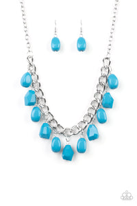 "Paparazzi ""Take The COLOR Wheel!"" Blue Faceted Bead Silver Necklace & Earring Set Paparazzi Jewelry"