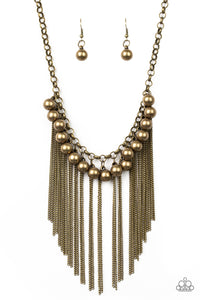 "Paparazzi ""Powerhouse Prowl"" Brass Fringe Chain Necklace & Earring Set Paparazzi Jewelry"
