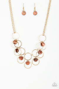 "Paparazzi ""Ask and You SHELL Receive"" Brown Shell Like Disc Gold Hoop Necklace & Earring Set Paparazzi Jewelry"