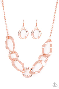 "Paparazzi ""Capital Contour"" Copper Hammered Frame Necklace & Earring Set Paparazzi Jewelry"