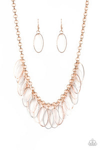 "Paparazzi ""Fringe Finale"" Multi Copper Rose Gold and Silver Oval Fringe Necklace & Earring Set Paparazzi Jewelry"