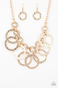 "Paparazzi ""Jammin Jungle"" Gold Hammered Interlocking Hoop Necklace & Earring Set Paparazzi Jewelry"