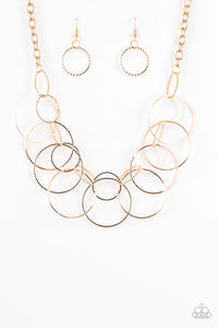 "Paparazzi ""Circa de Couture"" Gold Textured Hoop Necklace & Earring Set Paparazzi Jewelry"