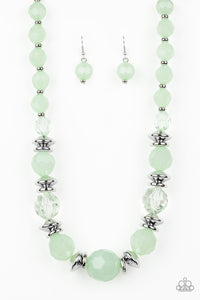 "Paparazzi ""Dine and Dash"" Green Bead Silver Necklace & Earring Set Paparazzi Jewelry"