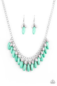 "Paparazzi ""Bead Binge "" Green and Gray Bead Fringe Silver Chain Necklace & Earring Set Paparazzi Jewelry"
