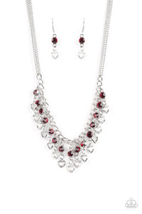 "Paparazzi ""Valentines Day Drama"" Red Rhinestone Silver Heart Fringe Necklace & Earring Set Paparazzi Jewelry"