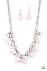 "Paparazzi ""No Tears Left To Cry"" Pink and Silver Teardrop Bead Necklace & Earring Set Paparazzi Jewelry"