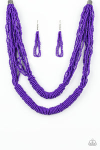"Paparazzi ""Right As RAINFOREST"" Purple Layered Seed Bead Necklace & Earring Set Paparazzi Jewelry"