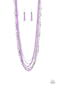 "Paparazzi ""Industrial Vibrance"" Purple and Silver Long Layered Chain Necklace & Earring Set Paparazzi Jewelry"