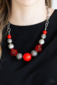 "Paparazzi ""Sugar, Sugar"" Red Crystal Like Silver Necklace & Earring Set Paparazzi Jewelry"