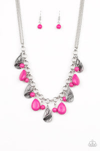 "Paparazzi ""Terra Tranquility"" Pink Teardrop Stone and Silver Bead Fringe Necklace & Earring Set Paparazzi Jewelry"