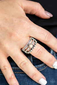 "Paparazzi ""Pop Rival"" Tan Brown Bead Silver Tone Stretchy Band Ring Paparazzi Jewelry"