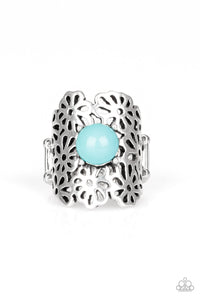 "Paparazzi ""Flower Shower"" Blue Bead Silver Floral Design Ring Paparazzi Jewelry"