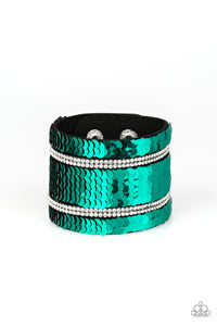 "Paparazzi ""MERMAID Service"" Green & Silver Sequin Black Suede White Rhinestone Wrap Bracelet Paparazzi Jewelry"