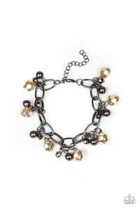 "Paparazzi ""Make Do in Malibu"" Multi Gold & Gunmetal Pearly Faceted Bead Bracelet Paparazzi Jewelry"