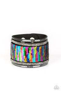 "Paparazzi ""Heads Or MERMAID Tails"" Multi Color Sequin Black Suede White Rhinestone Wrap Bracelet Paparazzi Jewelry"