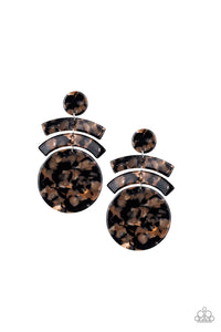 "Paparazzi ""In The HAUTE Seat"" Black & Brown Acrylic Earrings Paparazzi Jewelry"