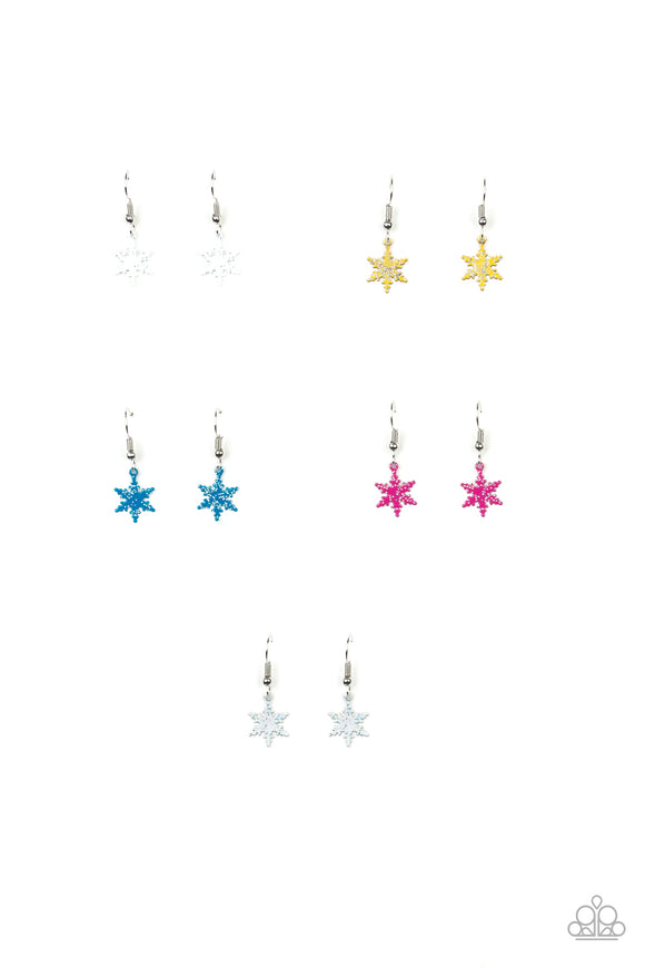 Girl's Starlet Shimmer Set of 5 Multi Color Snowflake Star Sparkle Silver Dangle Earrings Paparazzi Jewelry