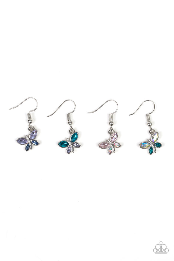Girl's Starlet Shimmer Set of 5 Multi Color Rhinestone Butterfly Silver Dangle Earrings Paparazzi Jewelry