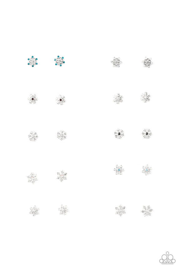 Girl's Starlet Shimmer 10 for $10 Glittery Snowflake Christmas Holiday Multi Color Rhinestone Iridescent Silver Post Earrings