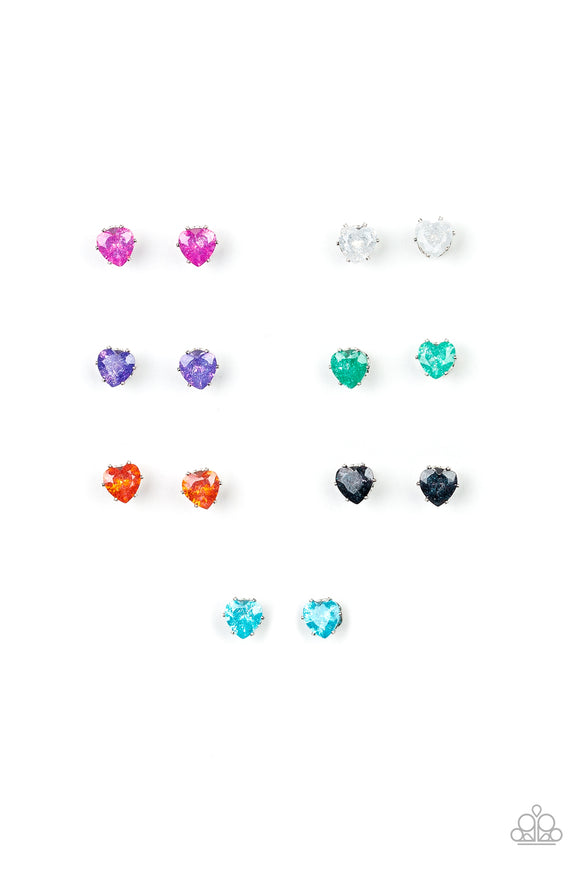 Girl's Starlet Shimmer 10 for $10 Glittery Valentine 227XX Multi Color Faceted Heart Gem Rhinestone Silver Post Earrings Paparazzi Jewelry
