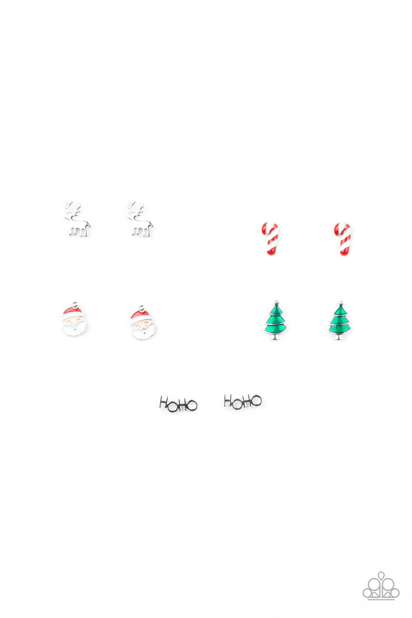 Girl's Starlet Shimmer Christmas Reindeer Santa Tree Candy Cane HOHO Set of 5 Sparkle Silver Post Earrings Paparazzi Jewelry