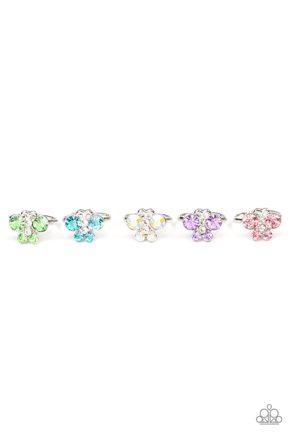 Girl's Starlet Shimmer Set of 5 168XX Multi Color Silver Butterfly Rings Paparazzi Jewelry