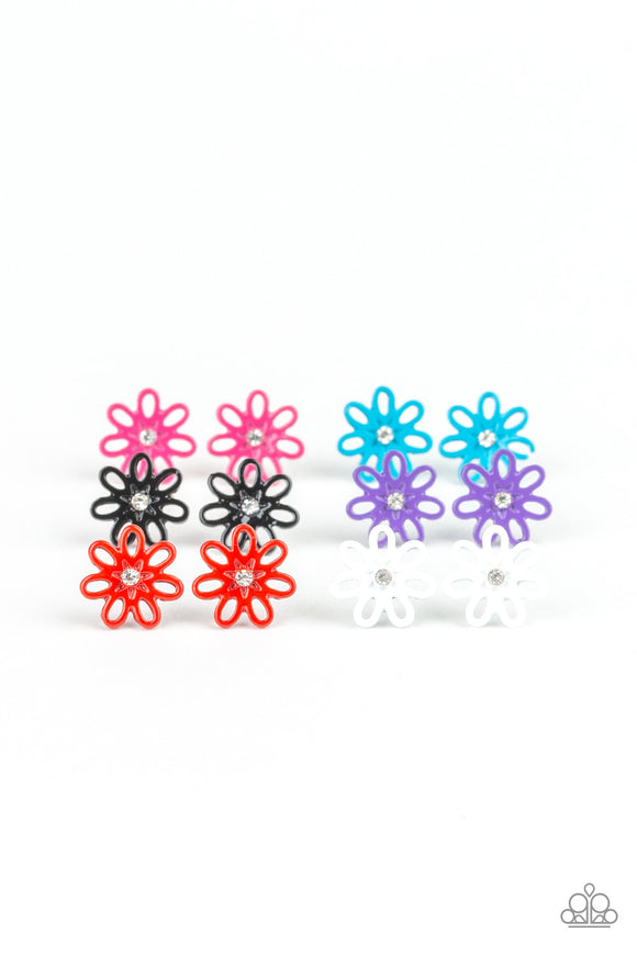 Girl's Starlet Shimmer 10 for $10 243XX Flower Multi Color White Rhinestone Silver Post Earrings Paparazzi Jewelry