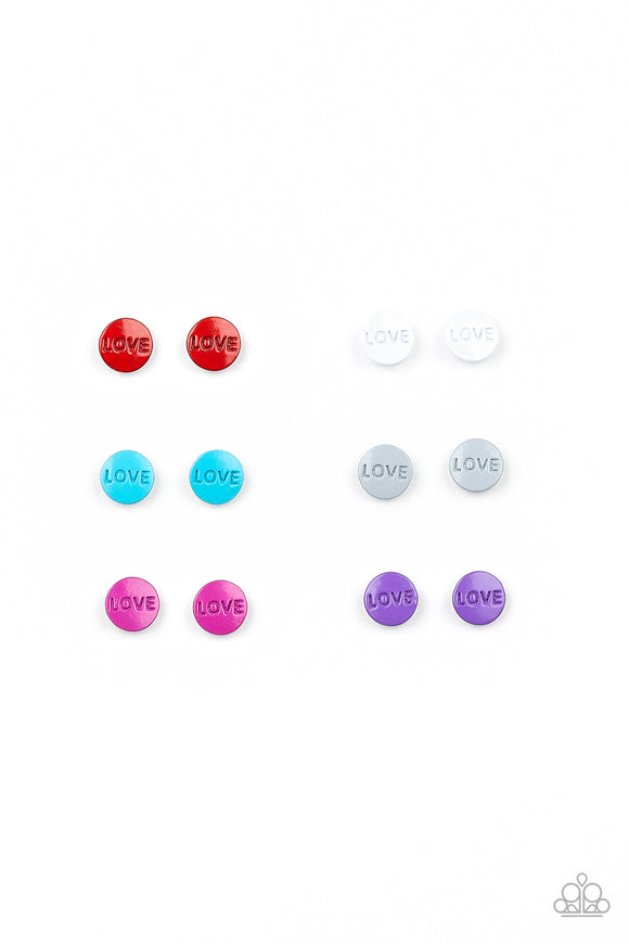 Girl's Starlet Shimmer 10 for $10 Multi Color LOVE 246XX Silver Post Earrings Paparazzi Jewelry