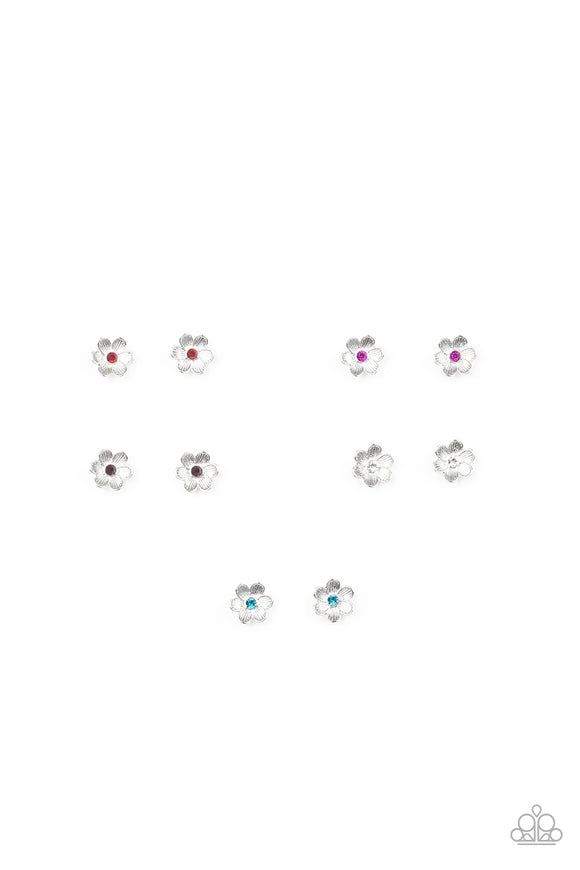 Girl's Starlet Shimmer 247XX Multi Color Rhinestone Flower Silver Post Earrings Paparazzi Jewelry