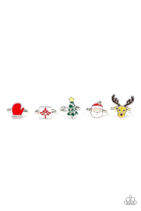 Girls Paparazzi Starlet Shimmer Christmas Rings Santa, Tree, Gift, Rudolph, Mitten Set of 5 Paparazzi Jewelry