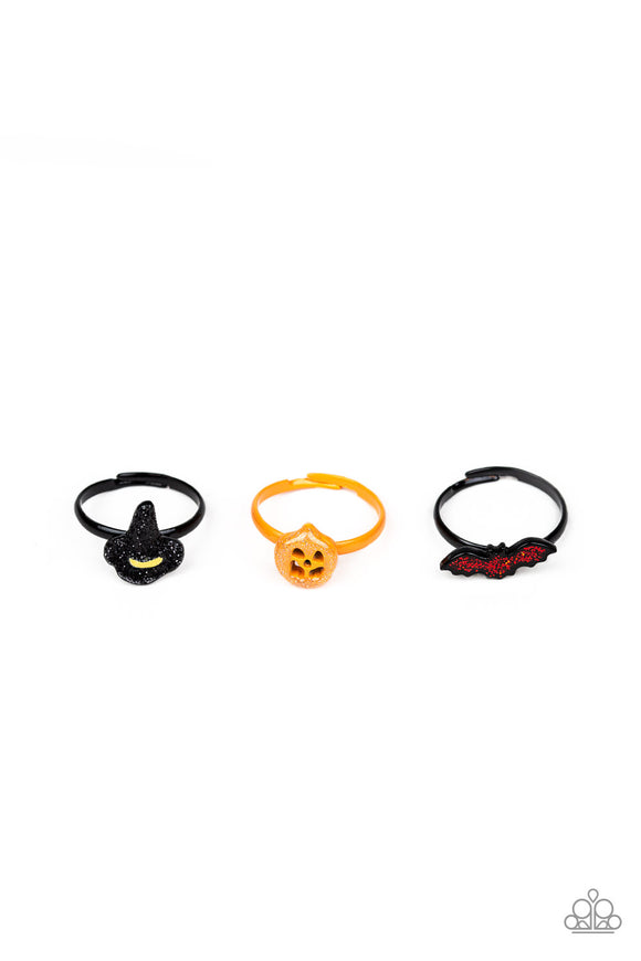 Girl's Starlet Shimmer Set of 5 Halloween Black Spider Pumpkin Ghost Hat Bat Multicolor Rhinestone Ring