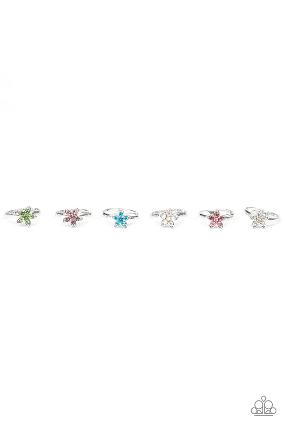 Girl's Starlet Shimmer Multi Color Rhinestone Flower Star 202XX Silver Ring Paparazzi Jewelry
